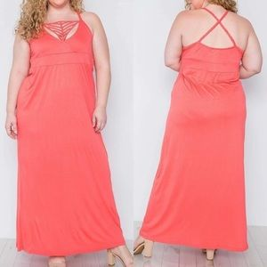NWOT Plus Size Detailed Maxi Dress